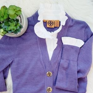Tory Burch Cardigan Attached Ruffle Collar Sleeves